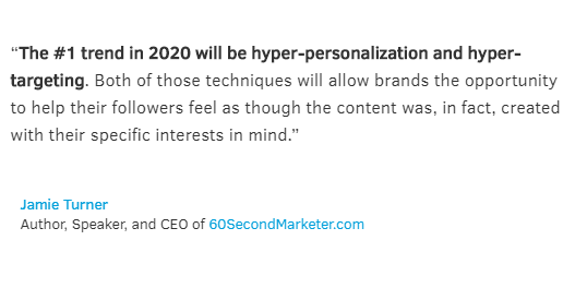 Social Media trends - brand personalization Quote